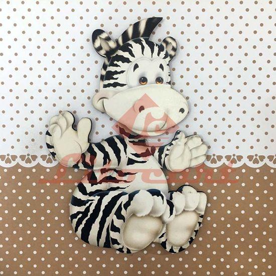 Placa Decorativa Infantil com Aplique em MDF Litocart LPQI-018M 20X20cm Zebra com Fundo Marrom
