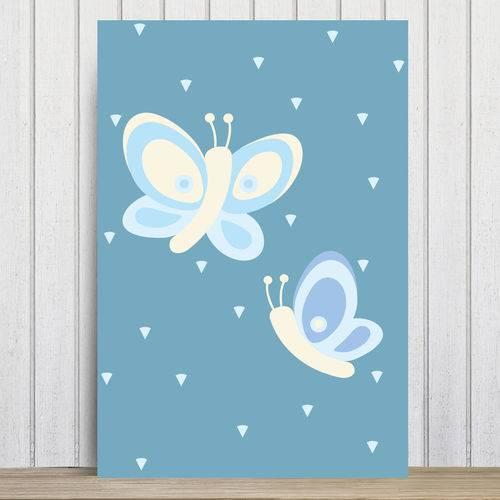 Placa Decorativa Infantil Coruja Baby Azul Borboletas 30x40