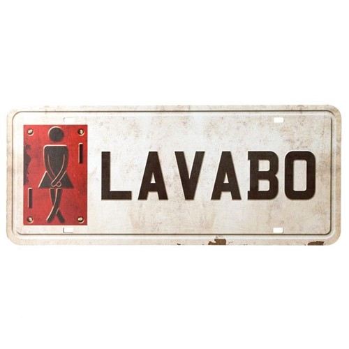 Placa Decorativa Lavabo Feminino 35x14,6cm