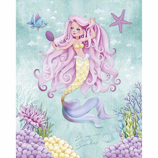Placa Decorativa Litoarte Dhpm-242 24x19cm Sereia de Cabelo Rosa