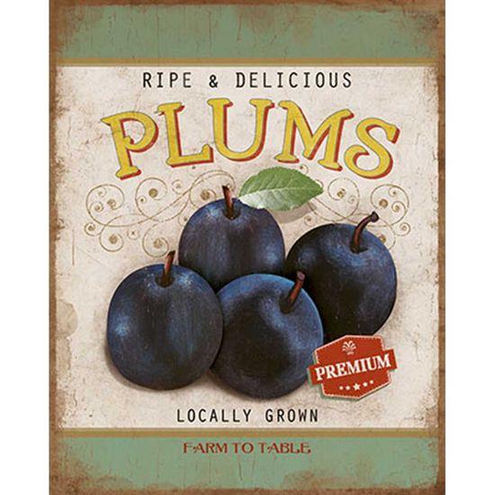 Placa Decorativa Litoarte Dhpml-004 24x19cm Ripe & Delicious Plums
