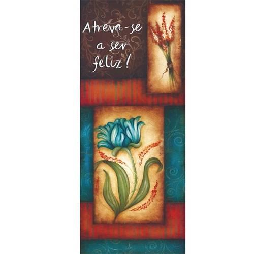Placa Decorativa Madeira Retangular 50x20 Flores e Feliz Lprc-01 - Litocart