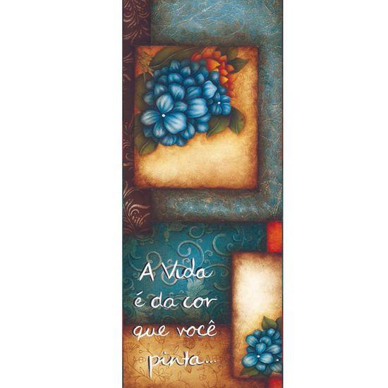 Placa Decorativa Madeira Retangular 50x20 Flores Lprc-02 - Litocart