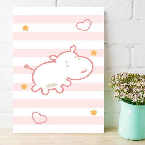 Placa Decorativa MDF Infantil Hipopótamo Rosa 20x30cm