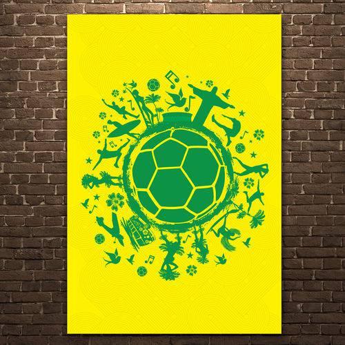 Placa Decorativa MDF País do Futebol Verde Amarela 20x30cm