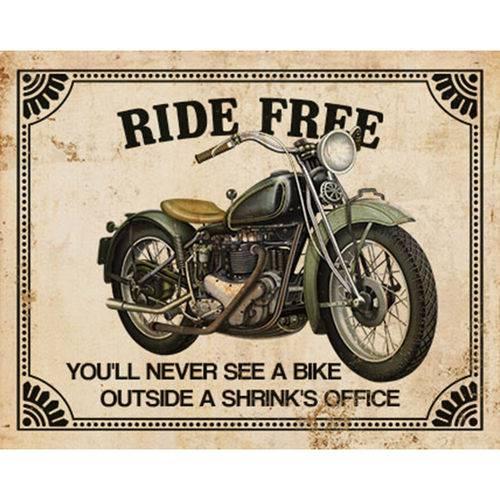 Placa Decorativa Moto Ride Free 24x19cm Dhpm-172 - Litoarte