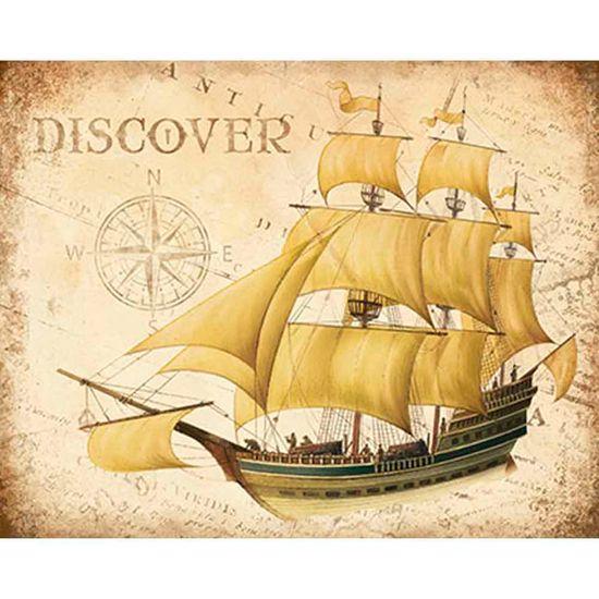 Placa Decorativa Navio Discover 24x19cm DHPM-162 - Litoarte
