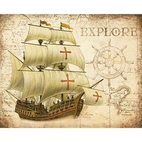 Placa Decorativa Navio Explore 24x19cm Dhpm-161 - Litoarte