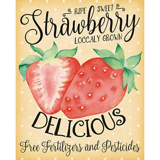 Placa Decorativa Strawberry 24x19cm DHPM-134 - Litoarte