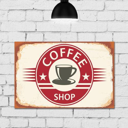 Placa Decorativa Vintage Café Coffee Shop MDF 30x40cm