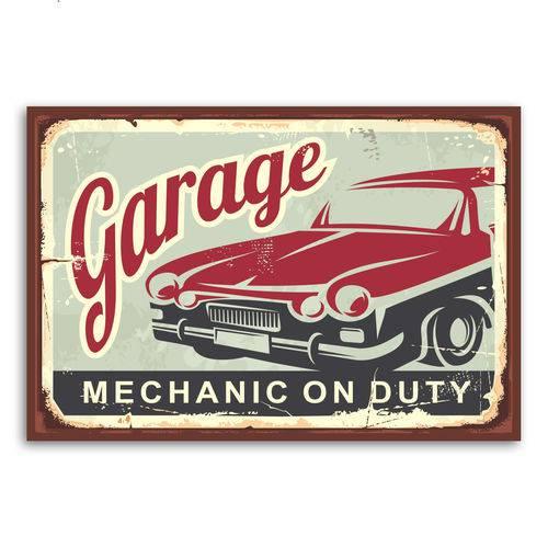 Placa Decorativa Vintage Carros Garage 20x30cm