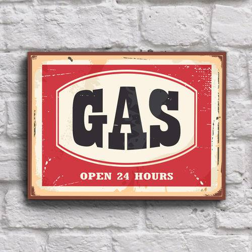 Placa Decorativa Vintage Carros Posto Gas 20x30cm