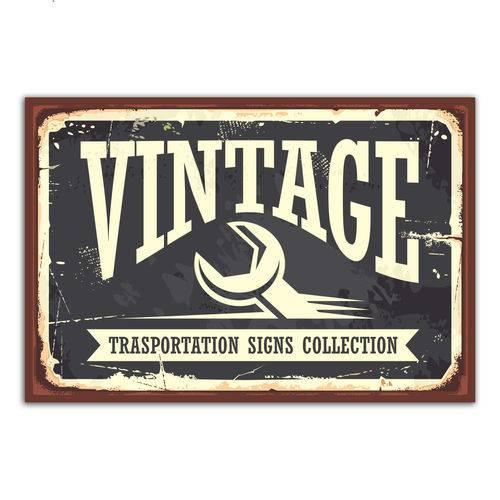 Placa Decorativa Vintage Carros Transportation 30x40cm