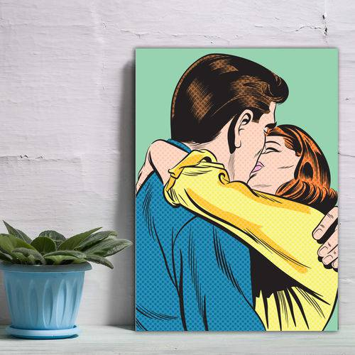 Placa Decorativa Vintage Romântica Beijo Casal Verde 30x40