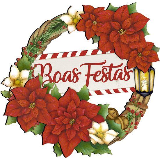 Placa em MDF Natal Litoarte DHN-030 29x28cm Guirlanda Boas Festas