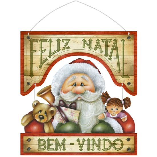 Placa em MDF Natal Litoarte DHN-013 29,5x31cm Papai Noel