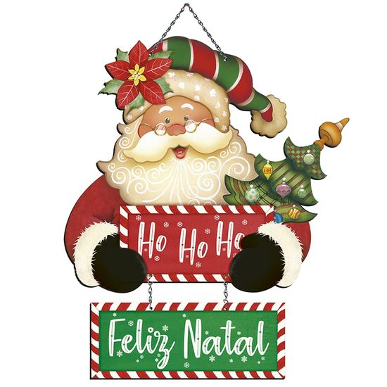 Placa em MDF Natal Litoarte DHN-029 46x26,3cm Papai Noel