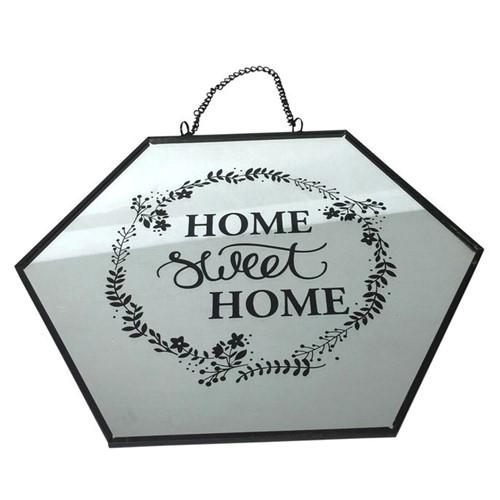 Placa Home Sweet Home Espelhada 22,5 X 20 Cm
