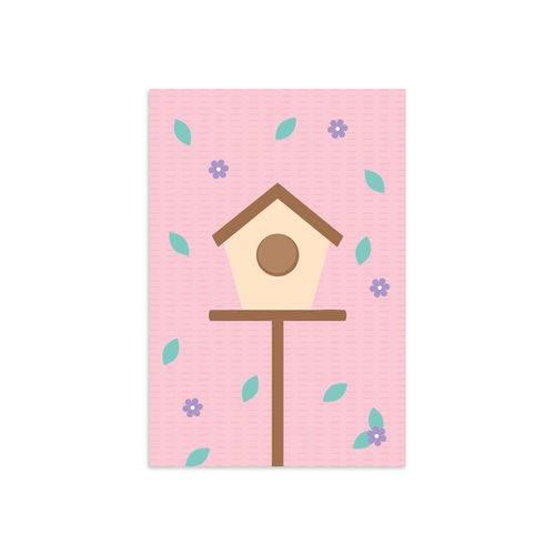 Placa Infantil Decorativa Casa Passarinhos 30x40cm