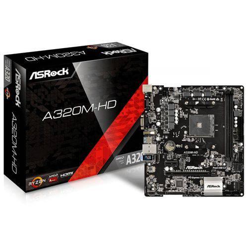 Placa Mãe A320M-HD AMD AM4 MATX DDR4 ASROCK