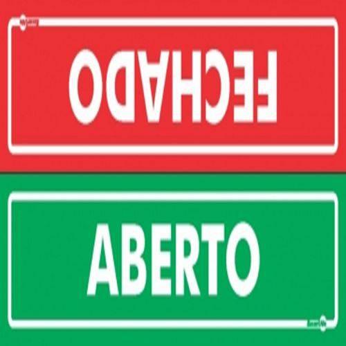 Placa SINALIZAÇÃO Aberto/Fechado Frente e Verso (65X30X15MM)