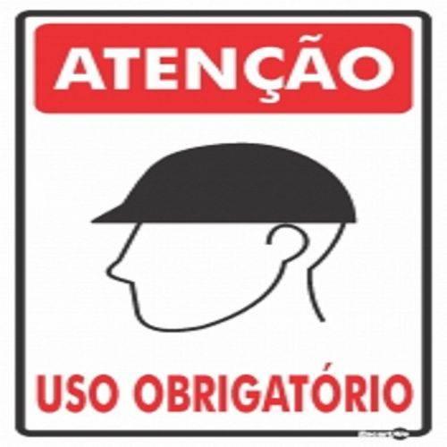 Placa SINALIZAÇÃO ATENÇÃO Capacete Uso Obrigatorio (20X30X0,80MM)