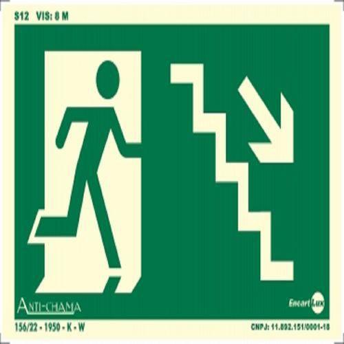 Placa SINALIZAÇÃO Rota de Fuga Escada Des. Dir. Fotolum. (25X15)