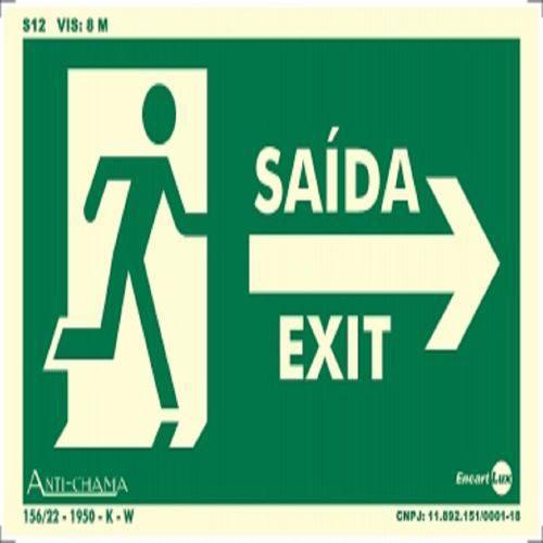Placa SINALIZAÇÃO Saida/Exit Seta/Dir Fotolum. (25X15)