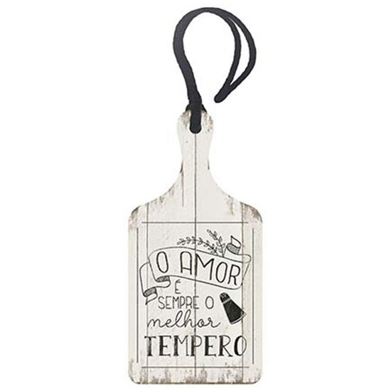 Placa TAG MDF Decorativa Litoarte DHT2-026 14,3x7cm o Amor é Sempre o Melhor Tempero