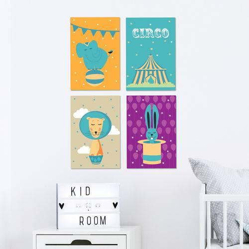 Placas Decorativas Circo Infantil MDF 30x40cm Kit 4un