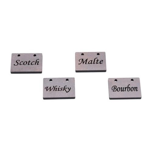 Placas para Bebidas Scotch 4 Peças Quartzo 5X3,5X0,6cm