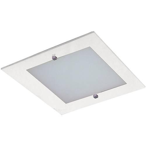 Plafon Flex Quadrado 28x28cm Metal/Vidro Branco - Attena