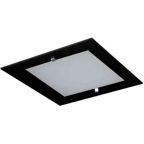 Plafon Flex Quadrado 28x28cm Metal/Vidro Preto/Branco - Attena
