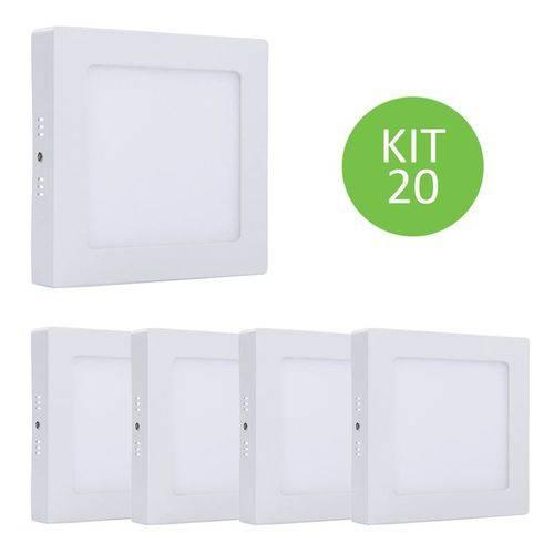 Plafon Led Sobrepor 18w Branco Neutro Quadrado Kit 20