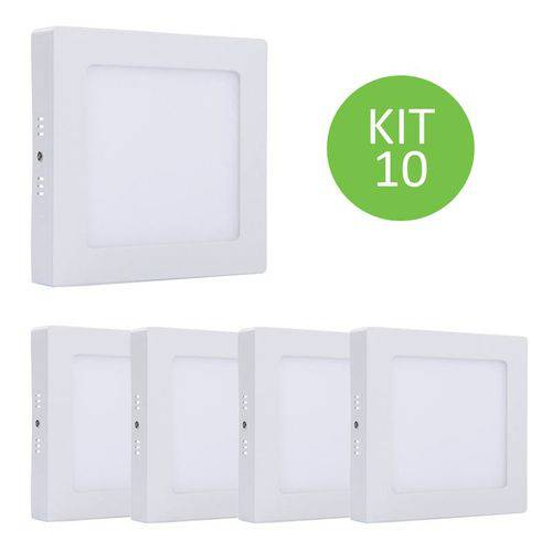 Plafon Led Sobrepor 18w Branco Neutro Quadrado Kit 10