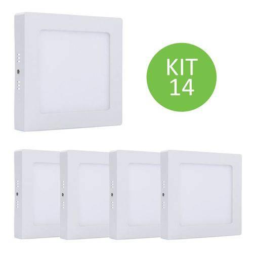 Plafon Led Sobrepor 18w Branco Neutro Quadrado Kit 14