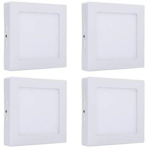 Plafon Led Sobrepor 18w Branco Neutro Quadrado Kit 4