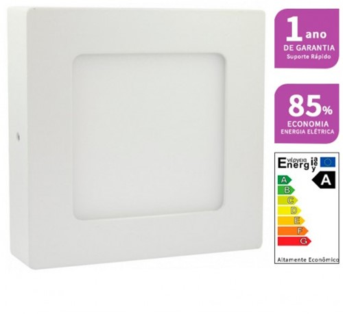 Plafon LED Sobrepor Quadrado 6W 12X12cm Bivolt