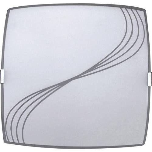 Plafon Linhas Quadrado Pequeno 21x21cm Metal/Vidro Branco - Attena