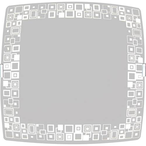 Plafon Mosaico Quadrado Pequeno 21x21cm Metal/Vidro Branco - Attena