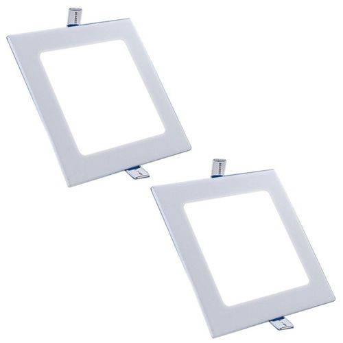 Plafon Painel Led Embutir 15w Branco Frio Quadrado Kit 2
