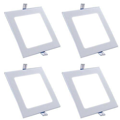 Plafon Painel Led Embutir 15w Branco Frio Quadrado Kit 4