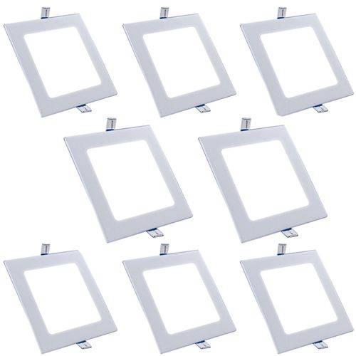 Plafon Painel Led Embutir 15w Branco Frio Quadrado Kit 8