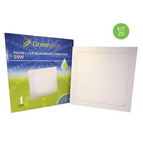 Plafon Painel Led Embutir 25w Branco Frio Quadrado Kit 20