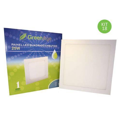 Plafon Painel Led Embutir 25w Branco Frio Quadrado Kit 18