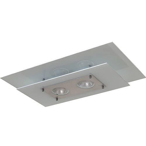 Plafon Palladium Retangular 50x30cm Alumínio/Vidro Branco - Attena
