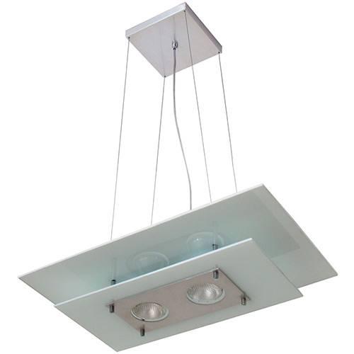 Plafon Palladium Retangular/2 Alumínio/Vidro Branco - Attena