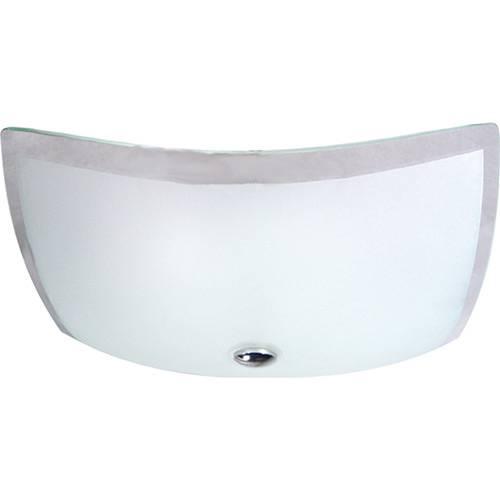 Plafon Sobrepor Quadrado 21x21cm Metal/Vidro Fosco com Borda Transparente - Attena