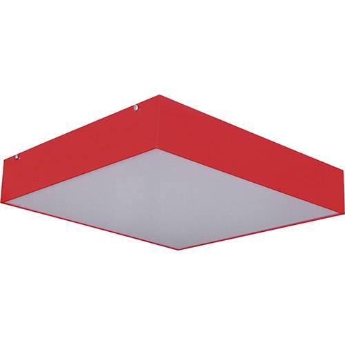 Plafon Sobrepor Quadrado Pequeno 25x25cm Metal e Acrílico Vermelho - Attena