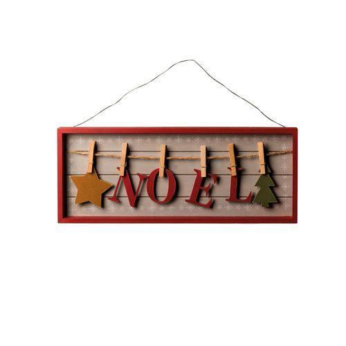 Plaquinha Madeira Decoração Natal C/pregadores Noel 18x45cm Vermelho